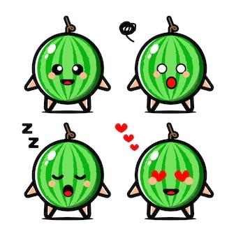Set niedliche wassermelonenfrucht-zeichentrickfigur mit ausdruck