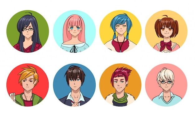 Set niedlicher anime charaktere avatar. cartoon mädchen und jungen porträts. bunte hand gezeichnete illustrationssammlung.