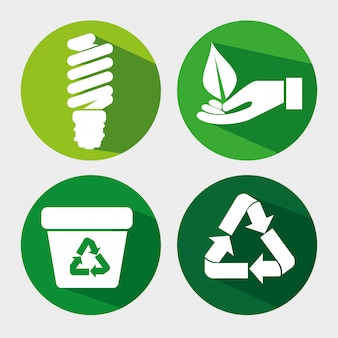 Set ökologie sparen glühbirne mit papierkorb und blatt