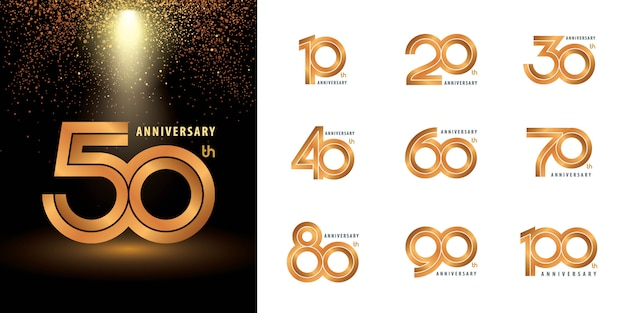 Set of anniversary label set