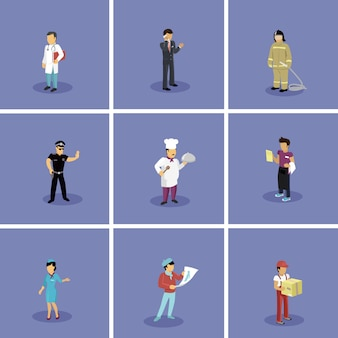 Set of characters beliebte berufe