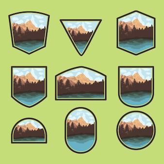 Set of nature outdoor-abzeichen designs mit see und wald