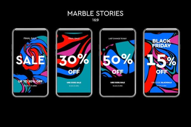Set of sale web-banner für mobile social media apps.