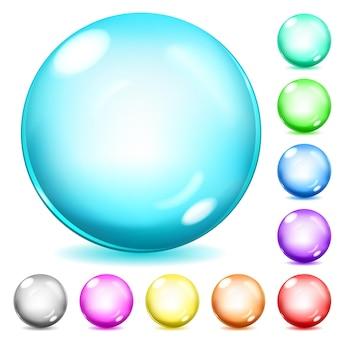 Set opake glaskugeln in verschiedenen farben