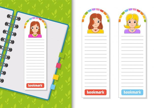Set papierbookmarks für bücher mit netten zeichentrickfilm-figuren.