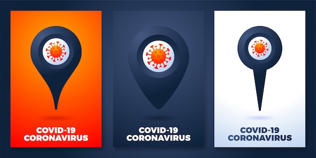 Set pin poster mit coronavirus-illustration. coronavirus 2019-ncov epidemisches infografik-element
