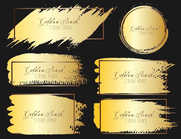 Set pinselstrichrahmen, goldschmutzbürstenanschläge. vektor-illustration