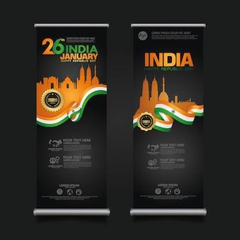 Set plakat indien glücklich tag der republik