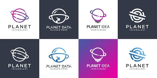 Set planet logo sammlung mit verschiedenen elementen stil premium-vektor