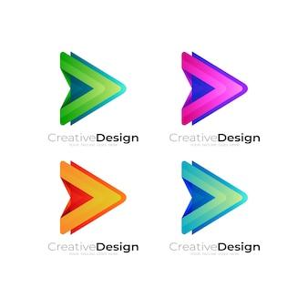 Set-play-logo mit farbenfroher designtechnologie