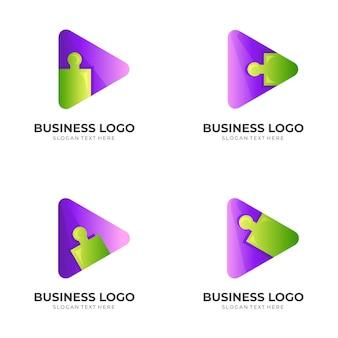 Set play puzzle-kombination logo