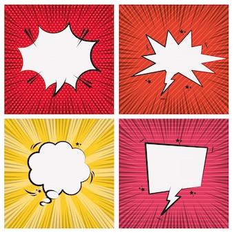 Set pop-art-comic-sprechblasen
