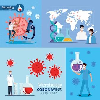 Set poster der mikrobiologie für covid 19 und medizinische ikonen