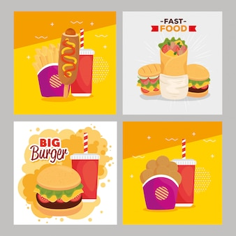 Set poster, leckeres fast food