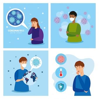 Set poster von coronavirus 2019 ncov
