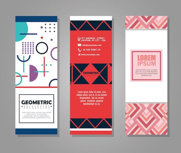 Set postkarten mit figuren geometrien und farben