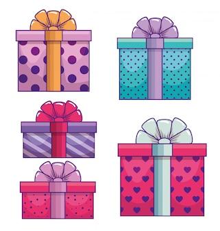 Set präsentiert geschenke mit schleife dekoration