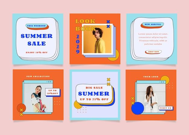 Set quadratischer flyer-post mit sommerverkaufsthema für social media