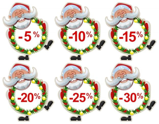 Set rabatt label santa claus weihnachtskranz aus tannenzweigen
