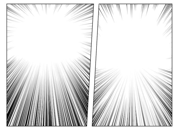 Set radialer manga-geschwindigkeitslinien für comics