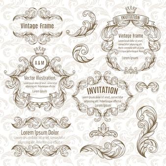 Set rahmen und vintage design-elemente
