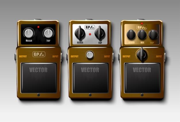 Set realistische gitarreneffektpedale Premium Vektoren