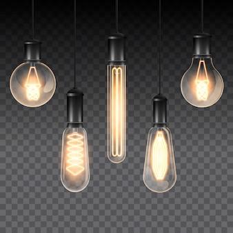 Set realistische leuchtende lampen, lampen, die an einem draht hängen. glühlampe. lokalisiert auf einer karierten dunkelheit.