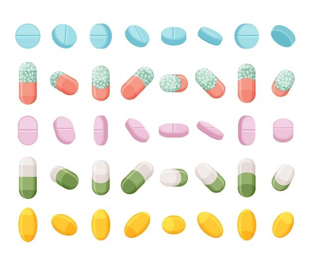 Set realistische pillen, tabletten und kapseln. isometrische medikamente. auf weißem hintergrund.