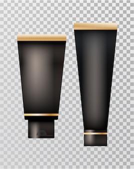 Set realistische schwarze kosmetikflaschen