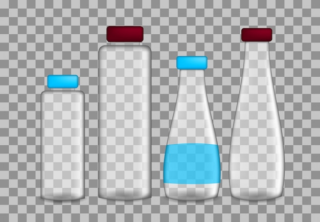 Set realistische transparente flaschen auf verschiedenen größen