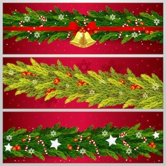 Set realistische weihnachten banner vorlage