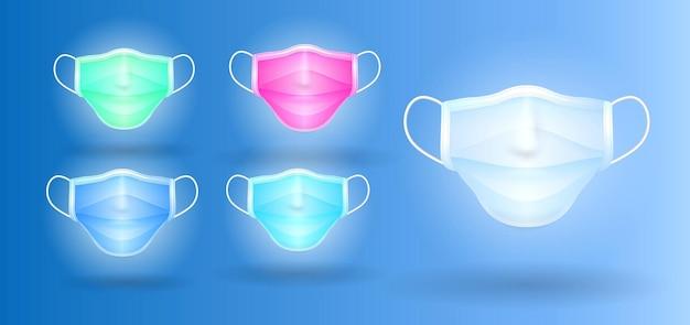 Set realistischer dreischichtiger chirurgischer maske in verschiedenen farben oder 3-schichtiger medizinischer gesichtsmaske eps-vektor