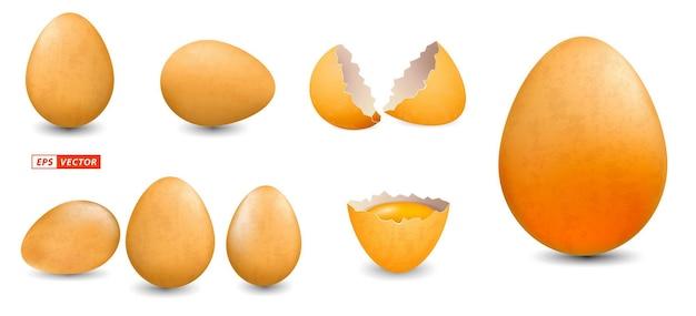 Set realistischer grunge-hühnereier isoliert oder hühnereierschale mit schmutzigem stil oder gebrochenem ei