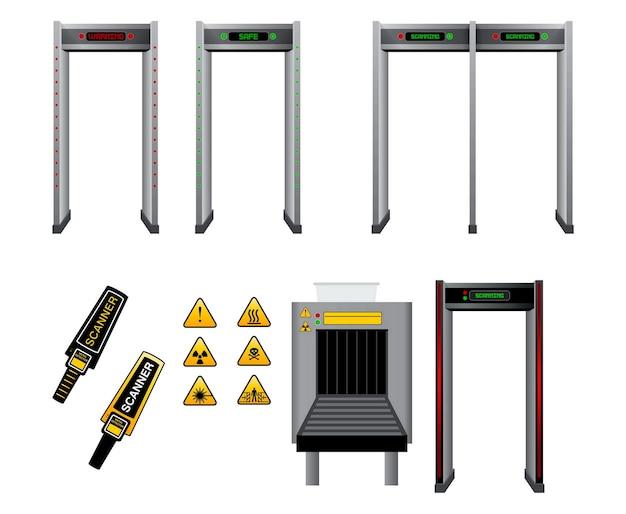 Set realistischer handheld-erkennung von metallscannern isoliert oder metalldetektor-gate-sicherheit oder gepäck