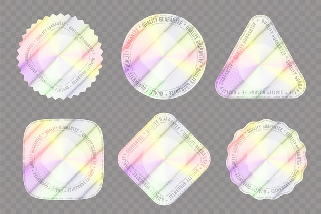 Set realistischer hologramme in verschiedenen formen zur dekoration