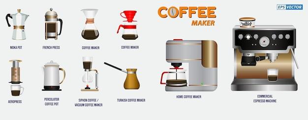 Set realistischer kaffeemaschinen isoliert wie hario chemexfrench pressmoka potaero press