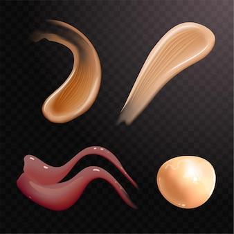 Set realistischer kosmetischer cremeabstriche hautpflegeprodukt in verschiedenen körperfarben lotion glatter abstrich...