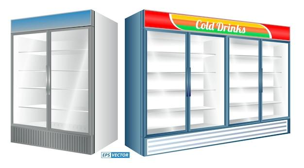 Set realistischer kühlschrankvitrine isoliert oder kommerzieller kühlschrank, der getränkekühlschränke kühlt