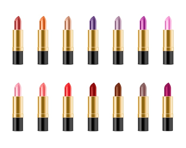 Set realistischer lippenstift