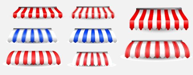 Set realistischer markisenzelte isoliert gestreifter markisen-sonnenschutz oder vordere markise im vintage-stil