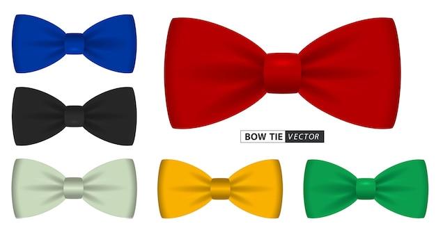 Set realistischer polka dot fliege oder fliege herrenanzug für bürouniform oder verschiedene fliege farben
