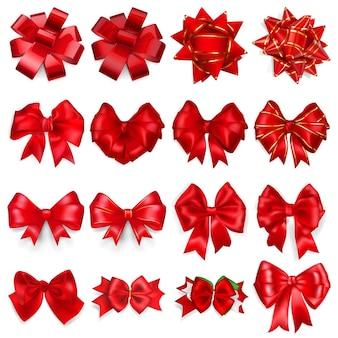 Set realistischer schöner schleifen aus roten bändern mit schatten