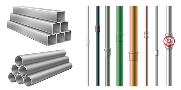Set realistischer stahlmetall- und kunststoffrohre für wasser-, öl-, gaspipeline, baugebäude