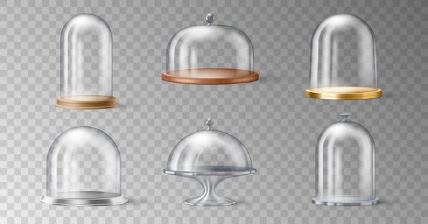 Set realistischer tortenständer mit glaskuppeln