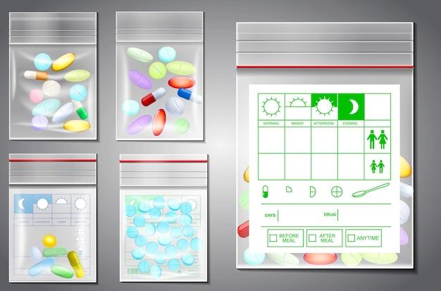 Set realistischer transparenter plastik-reißverschluss-tasche isoliert