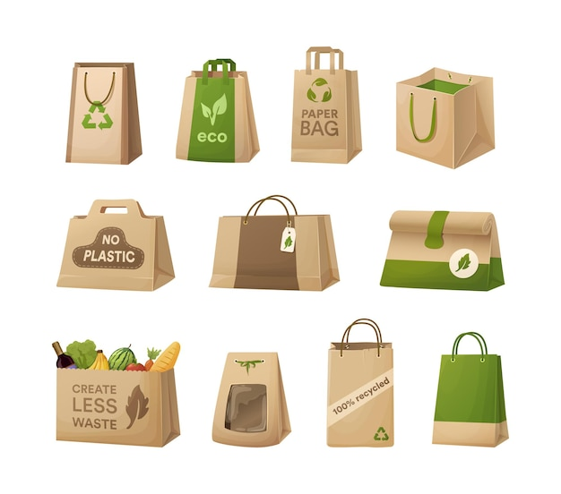 Set recycling-papiertüten karton zum tragen mit umweltfreundlichem logo