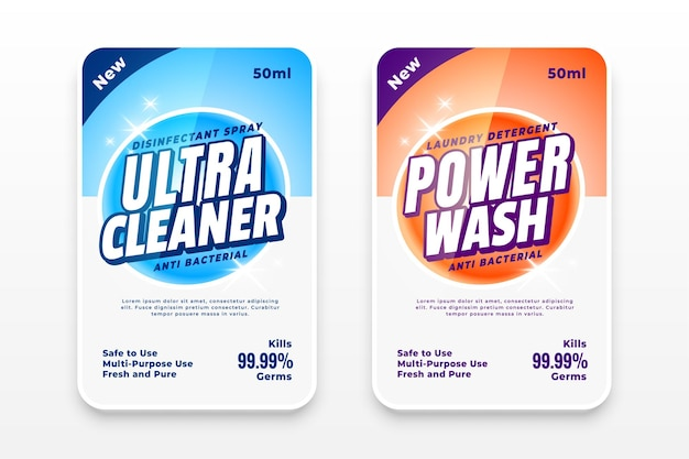 Set reinigungsmitteletiketten oder desinfektionsmittelaufkleber