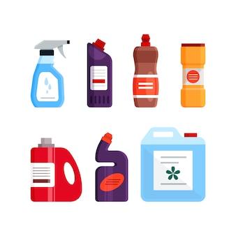 Set reinigungswerkzeuge, reinigungs- und desinfektionsmittel, haushaltsgeräte zum waschen. flache illustration lokalisiert auf weißem hintergrund