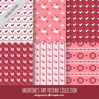 Set retro- dekorativen muster valentin