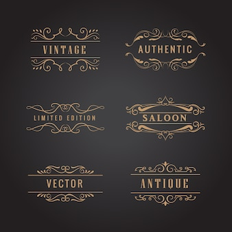 Set retro ornamente luxus vintage logo